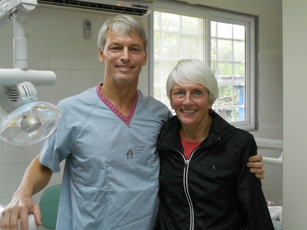 Dr. Kevin Alexander and his mom, Lois Caldwell, at the health clinic.